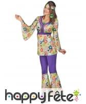Ensemble hippie violet à motifs fleuris pour femme, image 1