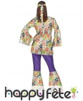 Ensemble hippie violet à motifs fleuris pour femme, image 2