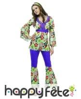 Ensemble hippie violet à motifs fleuris pour femme, image 3