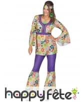 Ensemble hippie violet à motifs fleuris pour femme