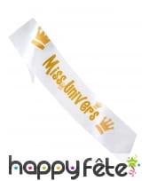 Echarpe Miss univers dorée de 80cm