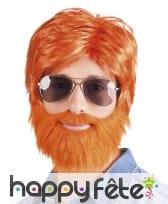 Ensemble perruque barbe moustache rousses