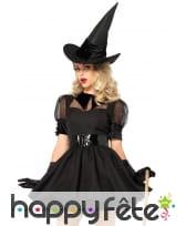 Elégante robe courte noire de sorcière, image 1
