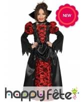 Elégante robe noire rouge de vampire pour enfant