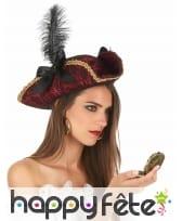 Elegant tricorne baroque de pirate avec plume, image 1