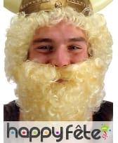 Fausse barbe blonde frisée avec élastique