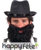 Fausse barbe noire frisée avec élastique