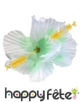 Fleur blanche style hawai sur barrette à cheveux, image 1