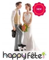 Figurine de couple foot pour gâteau de mariage
