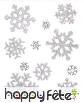 Flocons de neige pailletés décoratifs pour fenêtre