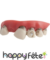 Fausses dents sales avec strass