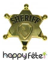 Fausse étoile de shériff dorée de 7,5cm, image 2