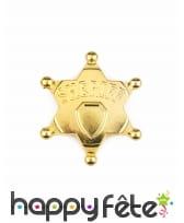 Fausse étoile de shériff dorée de 7,5cm