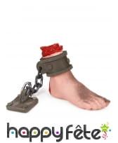 Faux pied coupé attaché à une chaîne