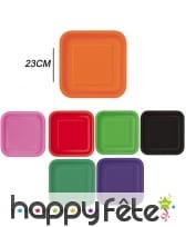 Grandes assiettes carrées en carton de 23 cm