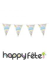 Guirlande à triangles joyeux anniversaire, 6 m