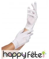 Gants blancs courts en tissu fin, image 1
