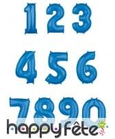 Grand ballon chiffre bleu, 43 x 66 cm