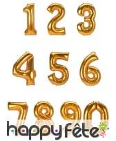 Grand ballon chiffre doré de 1,34m