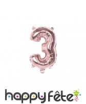 Grand ballon chiffre rose métallisé de 36 cm, image 4