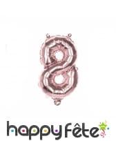 Grand ballon chiffre rose métallisé de 36 cm, image 9