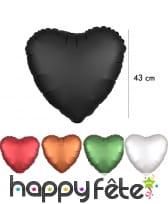 Grand ballon coeur en alu couleur unie de 43 cm