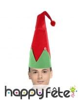 Grand bonnet d'elfe rouge et vert