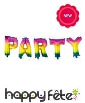 Guirlande ballons de lettres Party arc-en-ciel