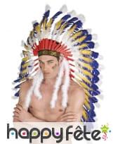Grande coiffe d'indien blanche, bleue et jaune