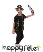 Gilet, chapeau et épée de pirate pour enfant