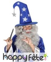 Grand chapeau pointu bleu de magicien