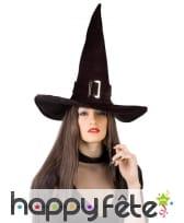Grand chapeau pointu noir de sorcière avec boucle