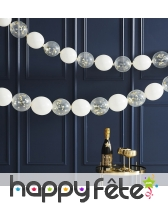 Guirlande de ballons transparents or et blancs, image 1