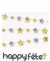 Guirlande d'étoiles argentées et dorées, 274cm