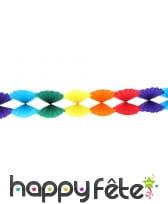 Guirlande d'éventails multicolores en papier, 4m