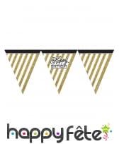 Guirlande de fanions d'anniversaire blanc doré, image 1
