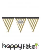 Guirlande de fanions d'anniversaire blanc doré, image 2