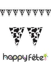 Guirlande de fanions vache noir et blanc, 370cm
