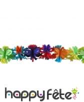 Guirlande de fleurs multicolores en papier, 4m