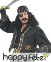 Gilet de pirate noir et doré, sans manches