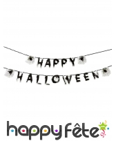 Guirlande Happy Halloween de 3 m, toile insectes