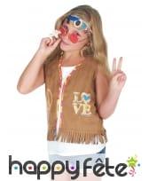 Gilet hippie marron à franges pour enfant, image 2