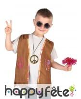 Gilet hippie marron à franges pour enfant, image 1