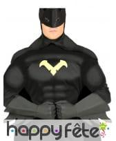 Gants longs et noirs de super héros pour adulte
