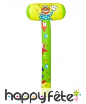Grand marteau de clown vert jaune à gonfler