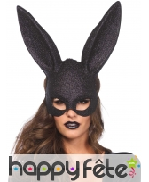 Grand masque de lapin noir style Play Boy