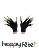 Gants noirs avec longs ongles pailletés, image 1