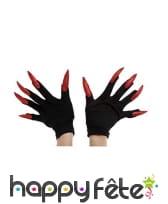 Gants noirs avec longs ongles pailletés, image 2