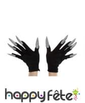 Gants noirs avec longs ongles pailletés, image 4