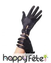 Gants noirs courts ouverts avec petit noeud